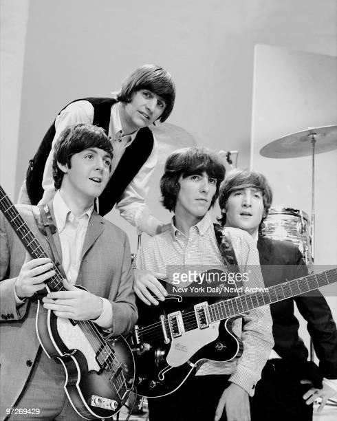 The Beatles Ringo Starr and Paul McCartney George Harrison John Lennon rehearse for Ed Sullivan show
