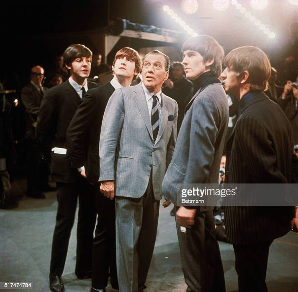 The Beatles with Ed Sullivan during the taping of their New York Debut show