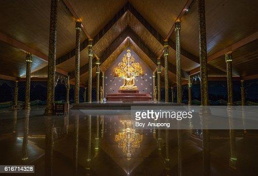 The beautiful Buddha statue in Sirindhorn Wararam Phu Prao Temple. : Stock Photo