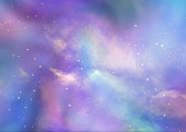 Pink and blue deep space background with many stars, planets and cloud formations