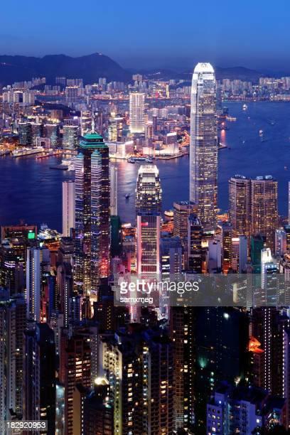 香港の街並みの夜景