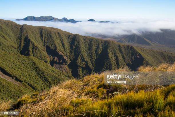 The beautiful landscape of Egmont national park during trekking Poukai Crossing in Taranaki region of western New Zealand.