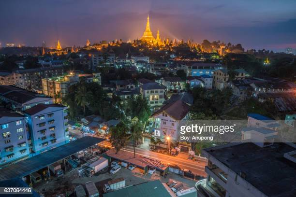 The beautiful landscape scenery of Shwedagon pagoda and Yangon township in Myanmar.