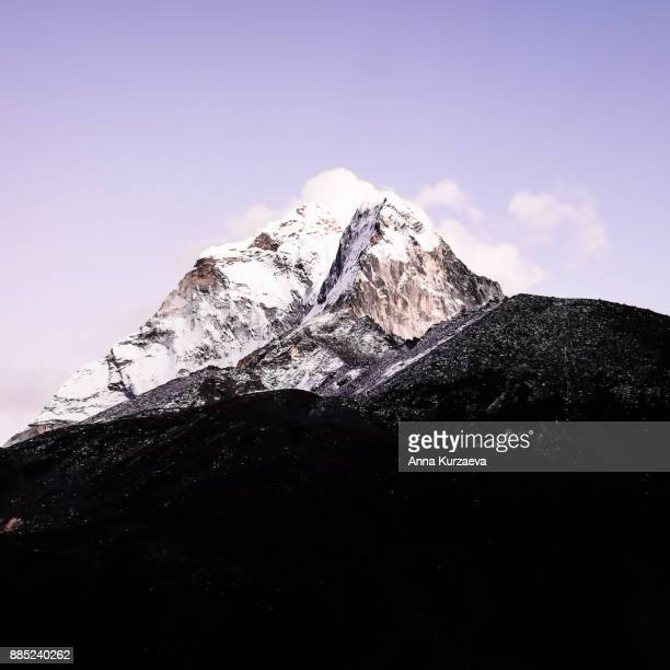 The beautiful landscape with the sunset over Mount Ama Dablam in Himalayas, Nepal