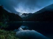 A wonderful mountain lake in Trentino. Autumn landscape.