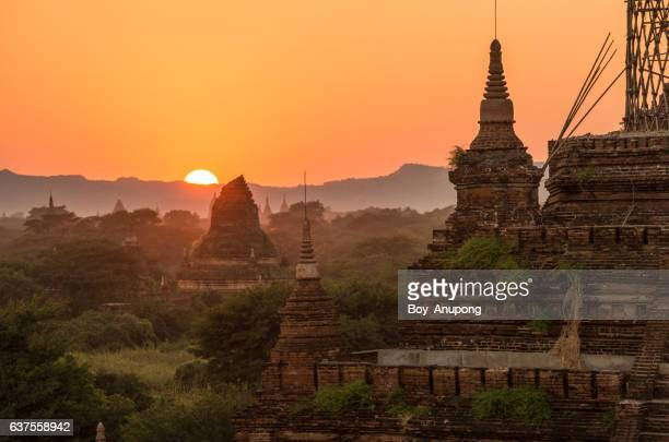 The beautiful scenery landscape of Bagan plains at dawn.