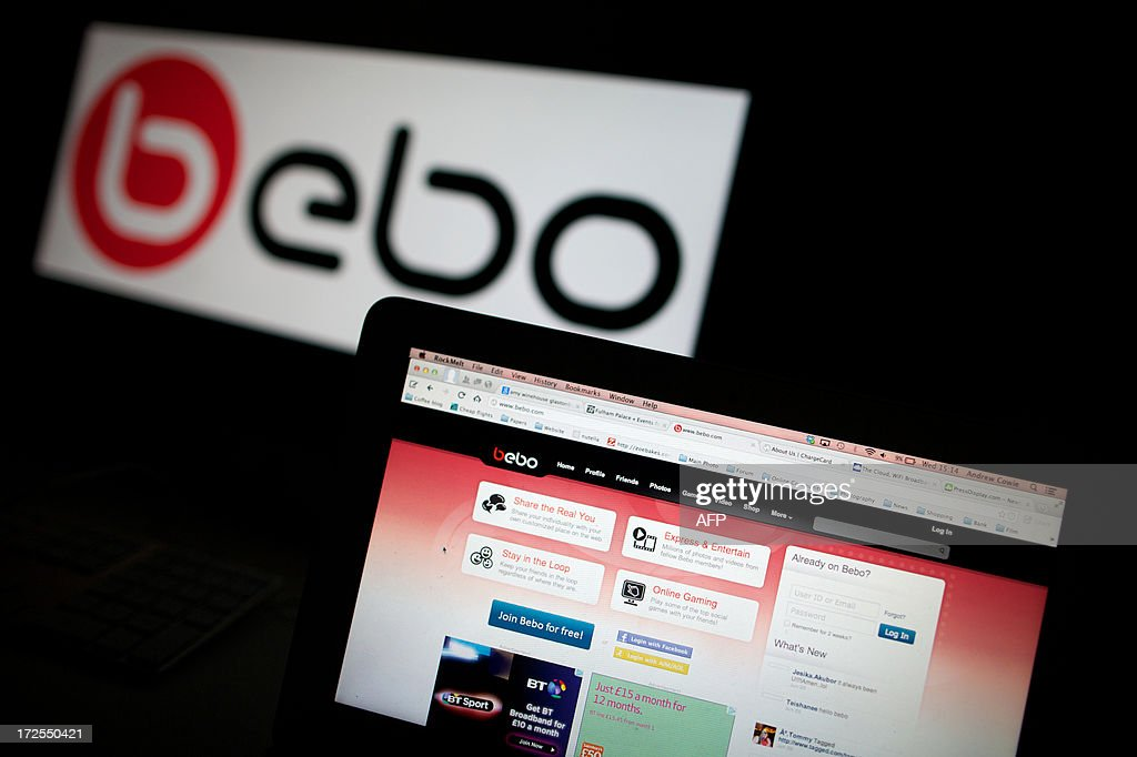The Bebo social networking site home page is photographed on a computer screen in London on July 3, 2013. Michael Birch and his wife Xochi, the British couple who sold social networking site Bebo for $850 million (655 million euros) five years ago, have bought back the company for just $1 million and say they will relaunch it.