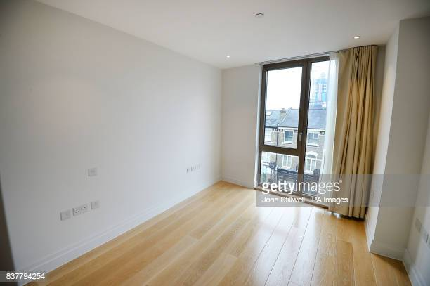 The bedroom of a two bedroom flat in Chelsea west London which will be offered to Grenfell survivors as permanent housing