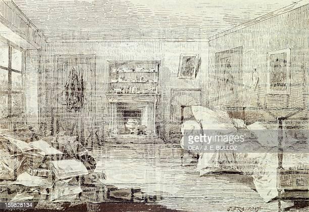The bedroom of Victor Hugo at his home in Paris Engraving 19th century Paris Bibliothèque Nationale De France