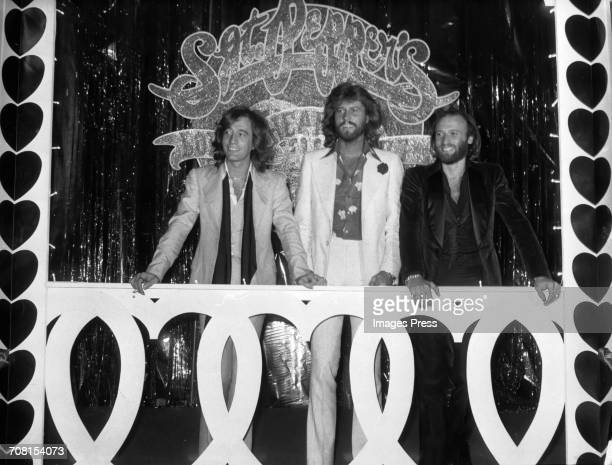 The Bee Gees attend a press event for the release of the 'Sgt Pepper's Lonely Hearts Club Band' soundtrack album in Los Angeles California circa 1978...