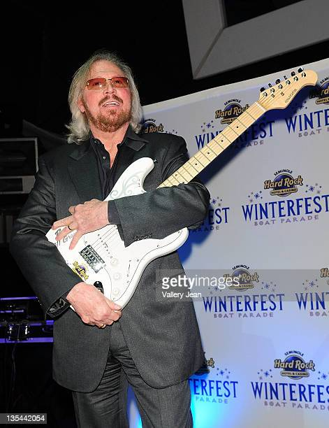 The Bee Gees Barry Gibb attends the Seminole Hard Rock Winterfest Boat Parade 2011 Grand Marshal reception at Seminole Hard Rock Hotel on December 9...