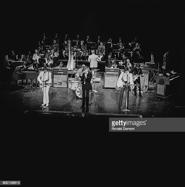 The Bee Gees on stage at the Saville Theatre in London with a 30piece backing orchestra 19th November 1967