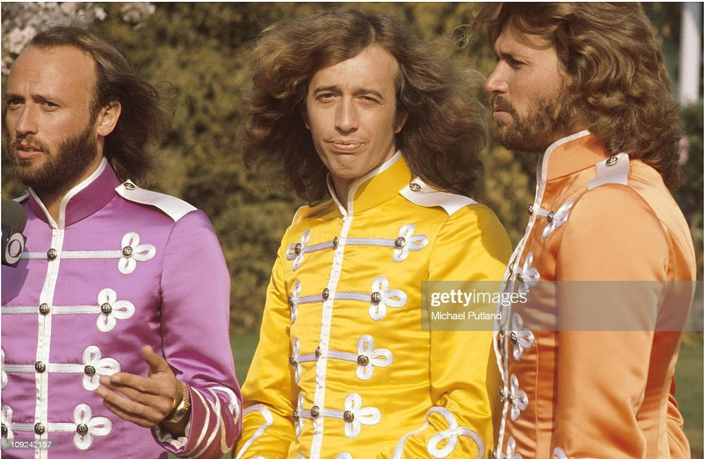 The Bee Gees on the set of Sgt. Pepper's Lonely Hearts Club Band film, USA, 1978, L-R Maurice Gibb, Robin Gibb, Barry Gibb.