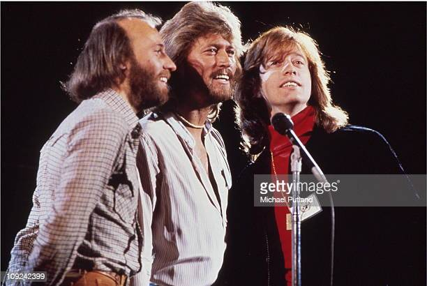 The Bee Gees perform at Music for UNICEF Concert at The United Nations in New York on January 9 LR Maurice Gibb Barry Gibb Robin Gibb