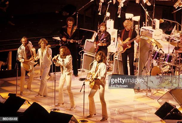 The Bee Gees perform at the Oakland Coliseum on July 11 1979 in Oakland California