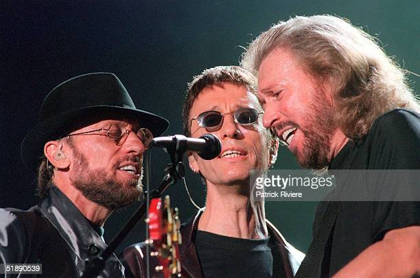 The Bee Gees perform during the 'One Night Only' concert at Stadium Australia in Sydney Australia