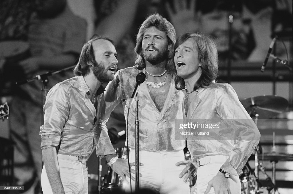 The Bee Gees performing at 'The Music for UNICEF Concert A Gift of Song' benefit concert held at the United Nations General Assembly in New York City...