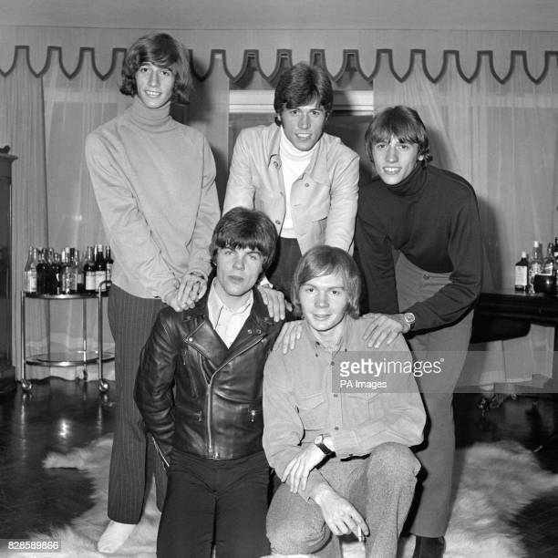 The Bee Gees pop group twins Robin and Maurice Gibb their brother Barry of ChorltoncumHardy Manchester Lancashire and Vince Melouney of Sydney and...