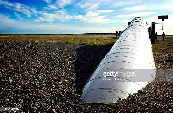 The beginning of the Trans Alaska Pipeline that runs from Prudhoe Bay to Valdez The Native Inuit eskimos welcomes drilling for oil in the ANWR area...