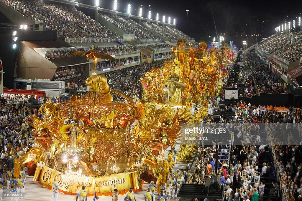 The BeijaFlor samba school parades in the Sambodrome at the Champion's Parade on February 13 2016 in Rio de Janeiro Brazil PostCarnival celebrations...