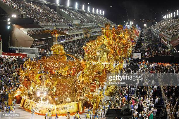 The BeijaFlor samba school parades in the Sambodrome at the Champion's Parade on February 13 2016 in Rio de Janeiro Brazil PostCarnival celebrations...