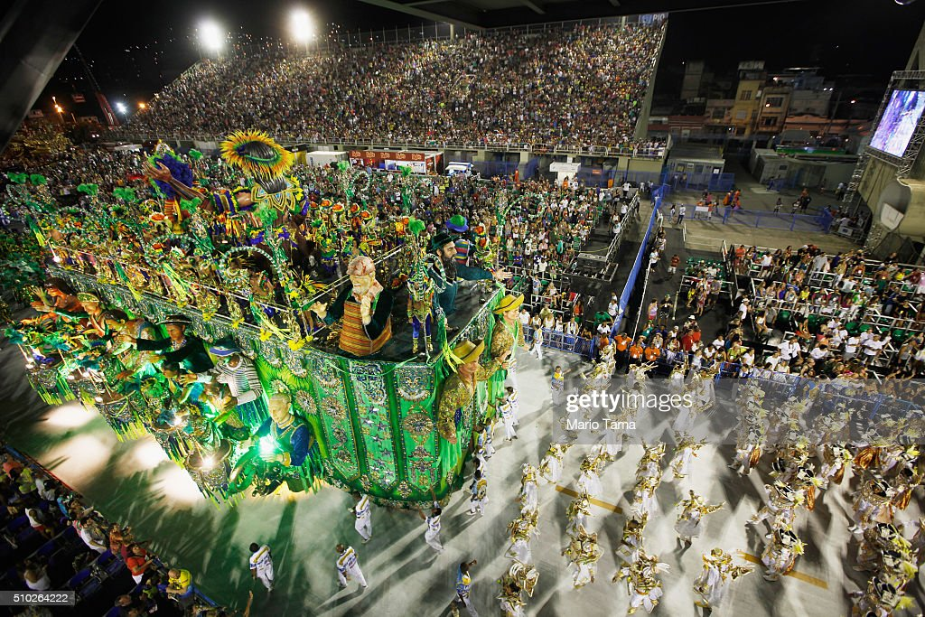 The Beija-Flor samba school parades in the Sambodrome at the Champion's Parade on February 14, 2016 in Rio de Janeiro, Brazil. Post-Carnival celebrations continued through the weekend in Brazil in spite of fears over the Zika virus.
