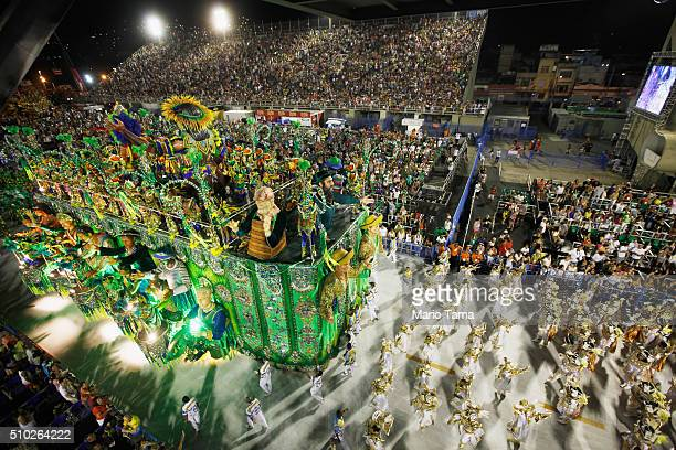 The BeijaFlor samba school parades in the Sambodrome at the Champion's Parade on February 14 2016 in Rio de Janeiro Brazil PostCarnival celebrations...