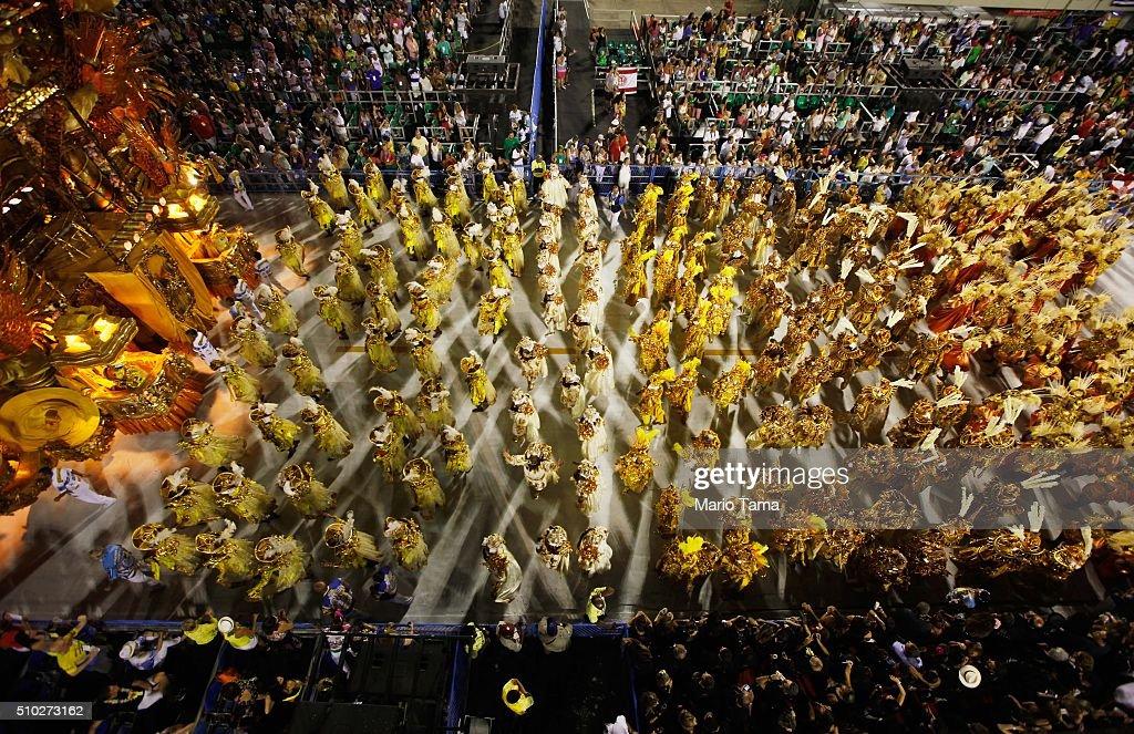 The BeijaFlor samba school parades in the Sambodrome at the Champion's Parade on February 14 2016 in Rio de Janeiro Brazil PostCarnival celebrations...