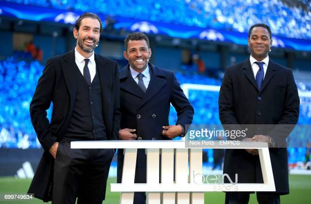 The beIN Sports pundit team of Robert Pires Sonny Anderson and Patrick Kluivert before the game