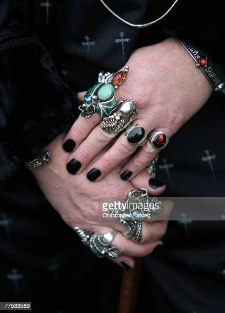 The bejeweled hands of Goth Tony Lightowler during his Gothing Wedding at St Mary The Virgin Church during Whitby Gothic Weekend on October 27 Whitby...