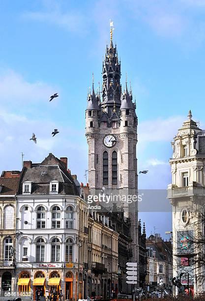 The Belfry in downtown Douai Pigeons in flight 2013