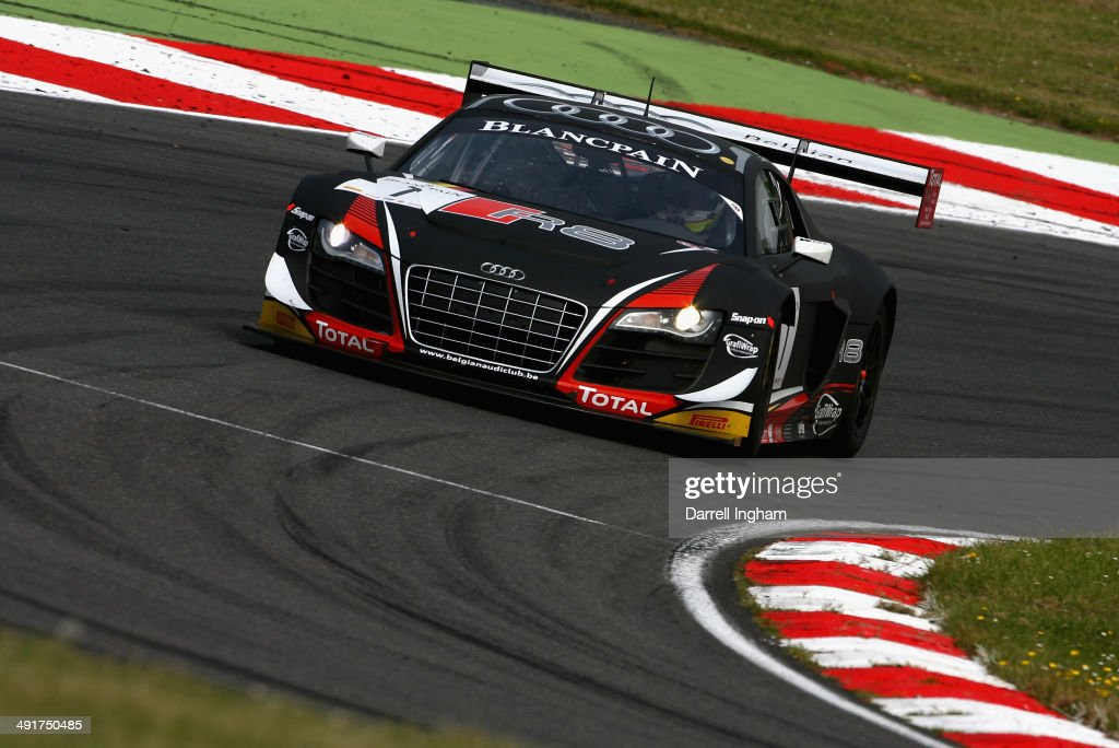 The Belgian Audi Club Team WRT Audi R8 LMS Ultra driven by Cesar Ramos of Brazil and Laurens Vanthoor of Belgium during practice for the Blancpain GT...