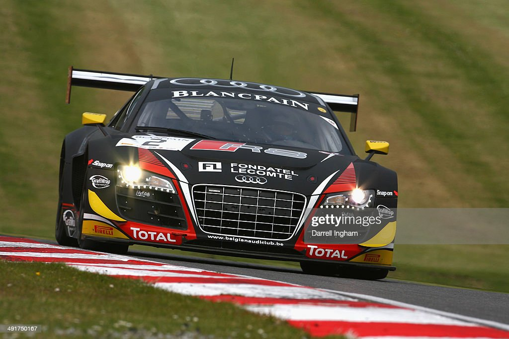 The Belgian Audi Club Team WRT Audi R8 LMS Ultra driven by Rene Rast of Germany and Enzo Ide of Belgium during practice for the Blancpain GT Sprint...