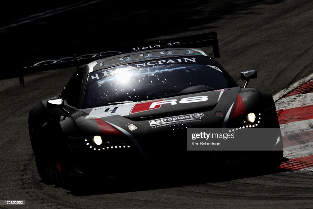 The Belgian Audi Club Team WRT R8 LMS Ultra of James Nash and Frank Stippler drives in the Qualifying Race during the Blancpain GT Sprint Series...