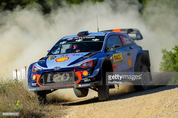 The Belgian driver Thierry Neuville and his codriver Nicolas Gil of Hyundai Motorsport jumping with his Hyundai i20 WRC during the Rally Racc...
