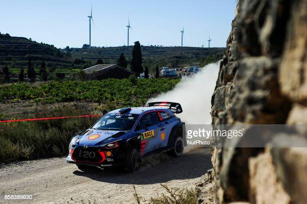 The Belgian driver Thierry Neuville and his codriver Nicolas Gil of Hyundai Motorsport driving his Hyundai i20 WRC during the first day of Rally Racc...