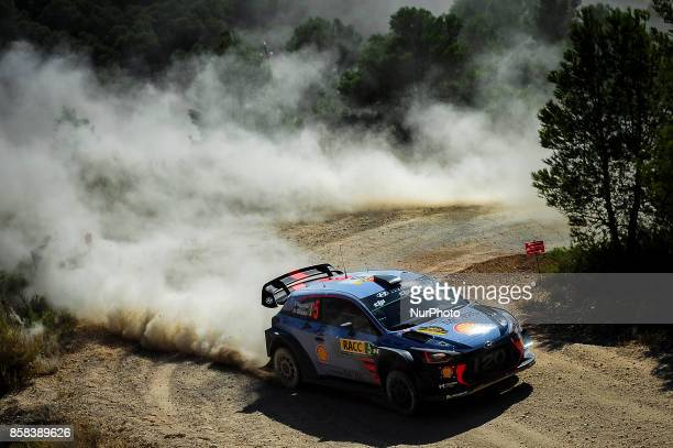 The Belgian driver Thierry Neuville and his codriver Nicolas Gilsoul of Hyundai Motorsport driving his Hyundai i20 WRC during the first day of Rally...