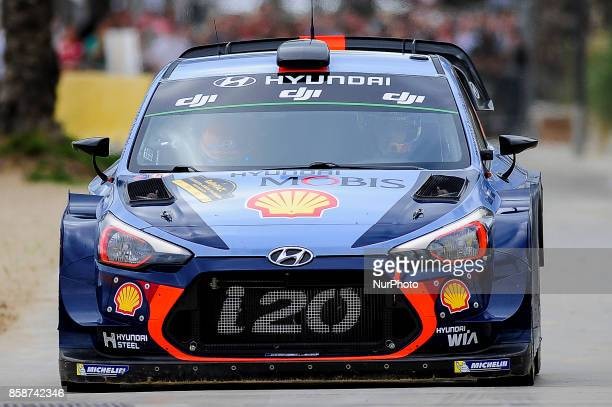 The Belgian driver Thierry Neuville and his codriver Nicolas Gilsoul of Hyundai Motorsport driving his Hyundai i20 wrc car at Salou special stage...