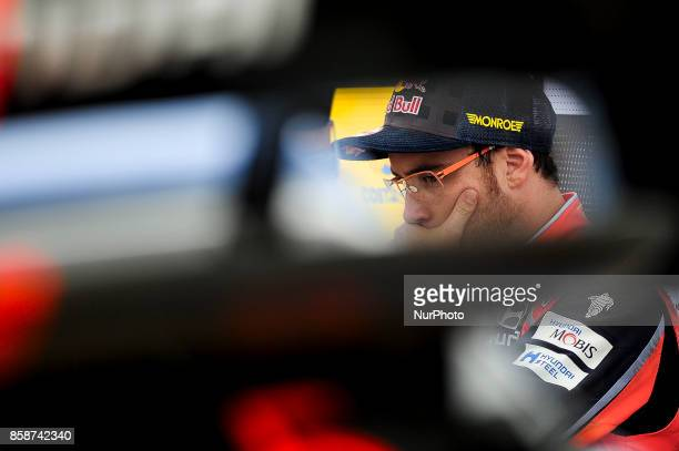 The Belgian driver Thierry Neuville of Hyundai Motorsport before crash his Hyundai i20 wrc car during the second day of the Rally Racc Catalunya...