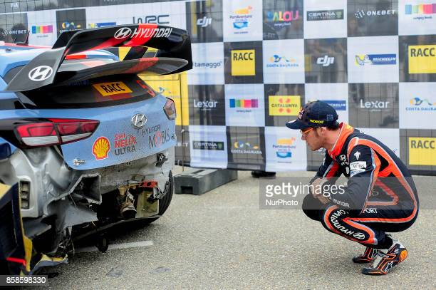 The Belgian driver Thierry Neuville of Hyundai Motorsport watching his Hyundai i20 wrc car before crash during the second day of the Rally Racc...