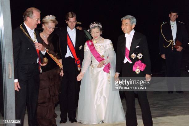 The Belgian King Albert II and Queen Paola and their eldest son crown Prince Philippe of Belgium are welcomed by Japanese Empress Michiko and Emperor...