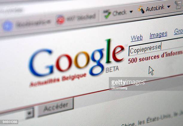 The Belgian news page of Google's Belgian web site with the word Copiepresse used as a search term for this picture is seen on a computer monitor in...