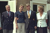 The Belgian sovereigns with their eldest son and his fiancee Mathilde d'Udekem d'Acoz