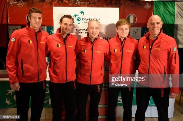 the Belgian team De Loore Bemelmans Darcis Goffin and Van Herck pictured during the draw of Davis Cup World quarterfinal match between Belgium and...