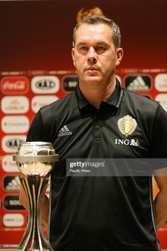 The Belgium Coach Thierry Siquet poses during the UEFA European Under-17 Championship in Azerbaijan press conference at the Boulevard Hotel.