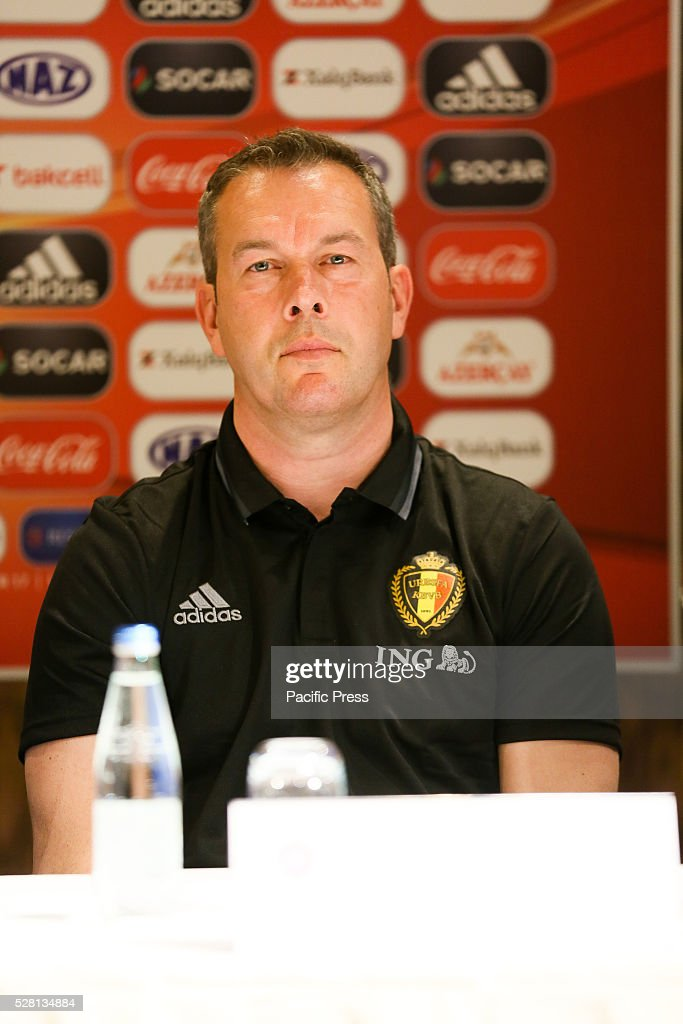 The Belgium Coach Thierry Siquet talks to the media during a UEFA European Under-17 Championship in Azerbaijan press conference at the Boulevard Hotel Baku on May 04, 2016 in Baku, Azerbaijan.