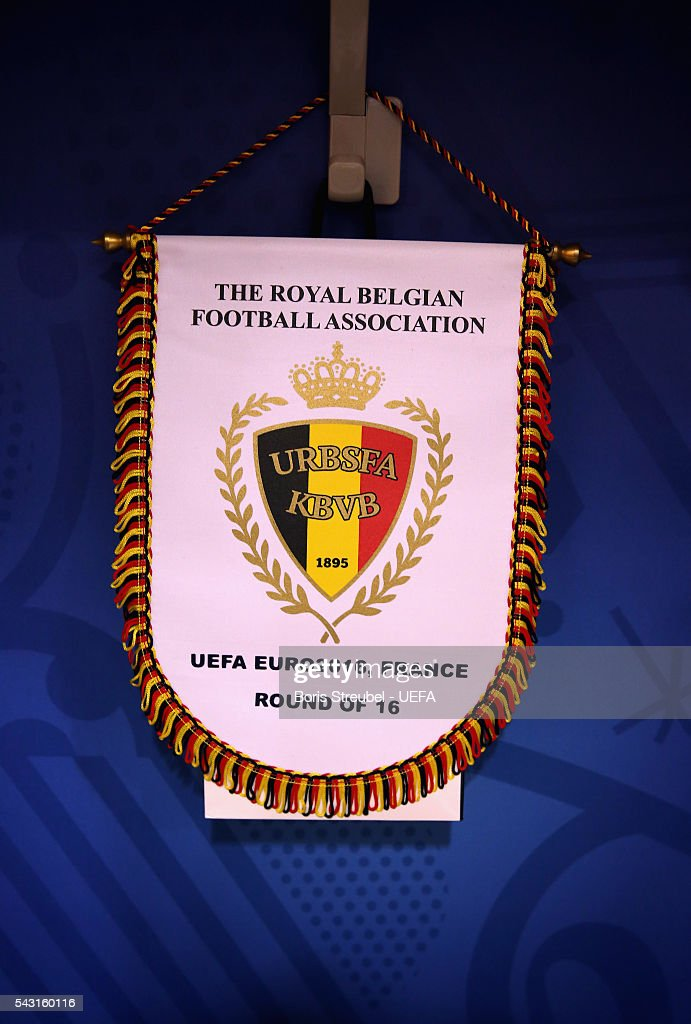 The Belgium pennant is seen ahead of the UEFA EURO 2016 round of 16 match bewtween Hungary and Belgium at Stadium Municipal on June 26, 2016 in Toulouse, France.