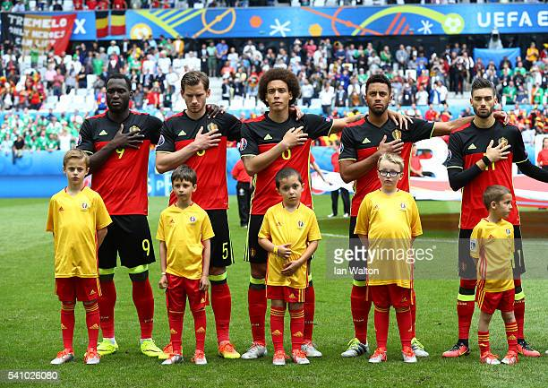 The Belgium team and player mascots line up for the national anthems prior to the UEFA EURO 2016 Group E match between Belgium and Republic of...