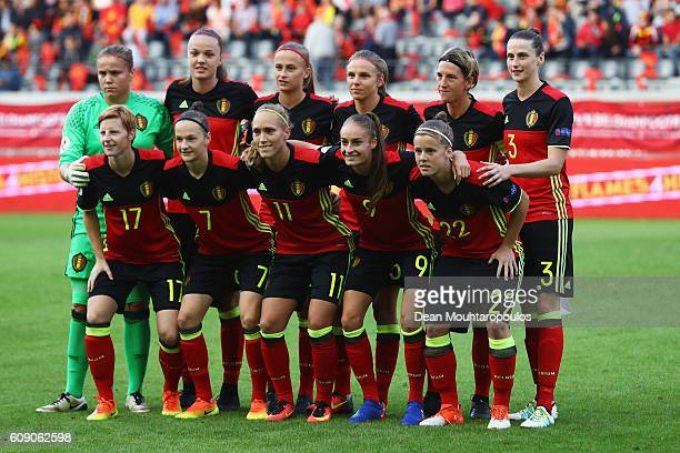 The Belgium team lines up prior to the UEFA Women's Euro 2017 Qualifier between Belgium and England held at Stadium Den Dreef Oud Heverlee Leuven on...