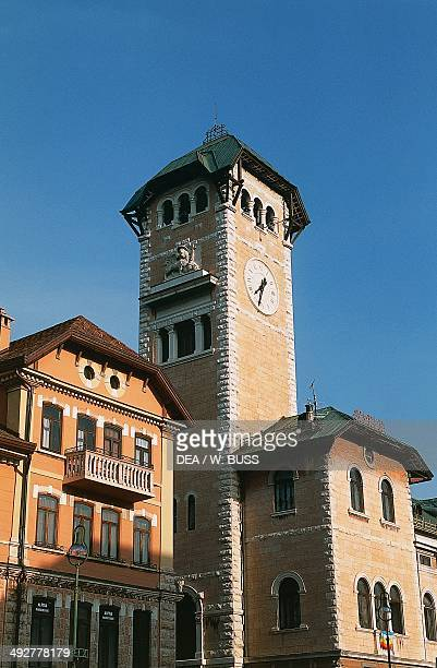 The bell tower of the Town hall of Asiago 19241929 Veneto Italy